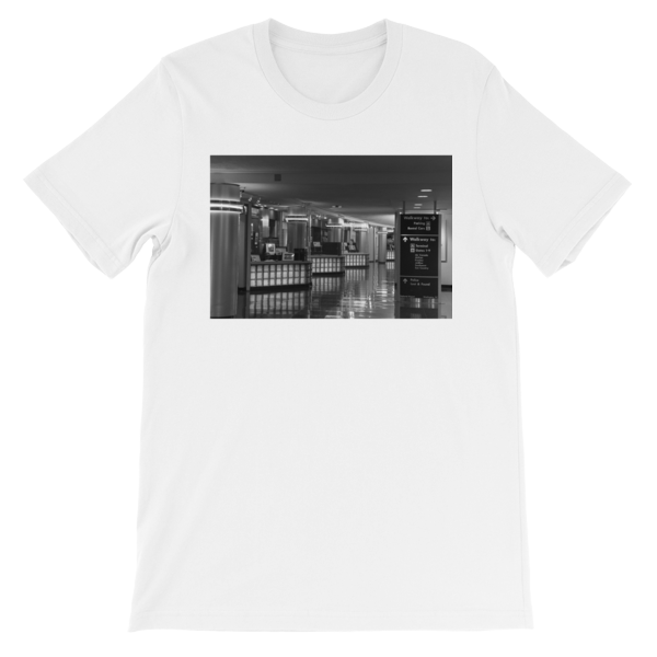 Ronald Reagan National Airport, Terminal A in Washington, DC - Carla Durham - 50 Cities and counting - short sleeve unisex t-shirt, white