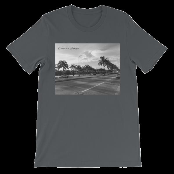 Concrete Jungle - Miami Beach, Florida - 50 Cities and counting - Carla Durham - short sleeve unisex t-shirt, asphalt