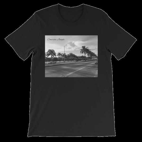 Concrete Jungle - Miami Beach, Florida - 50 Cities and counting - Carla Durham - short sleeve unisex t-shirt, black