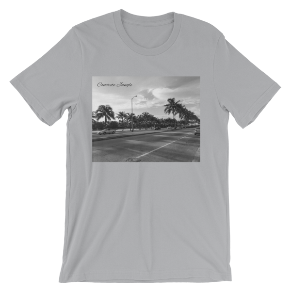 Concrete Jungle - Miami Beach, Florida - 50 Cities and counting - Carla Durham - short sleeve unisex t-shirt, silver