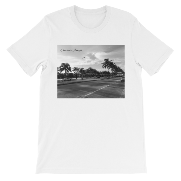 Concrete Jungle - Miami Beach, Florida - 50 Cities and counting - Carla Durham - short sleeve unisex t-shirt, white