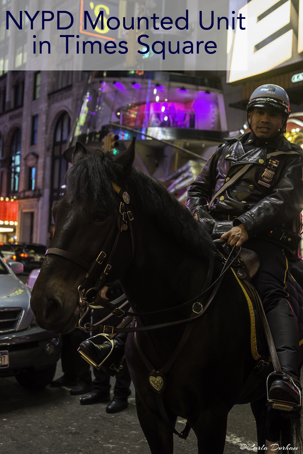 New York Police Department officers on horses in Times Square