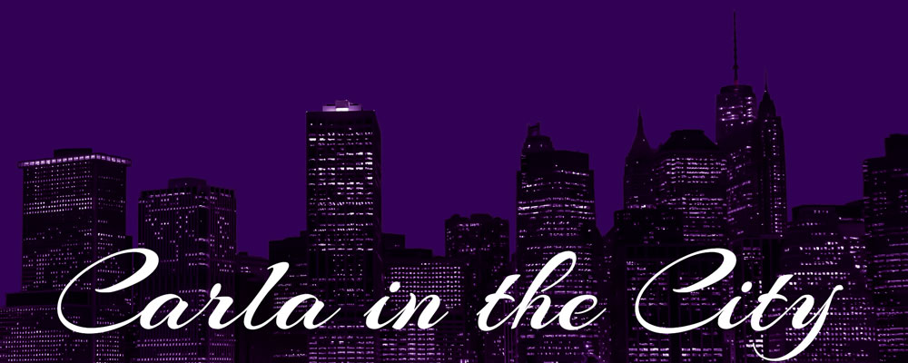 Carla in the City skyline logo in purple